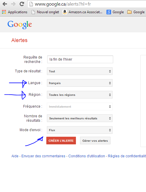 Maintenant possible de cibler les alertes Google