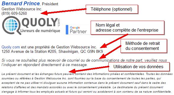 Exemple de signature de courriel avec la loi c-28